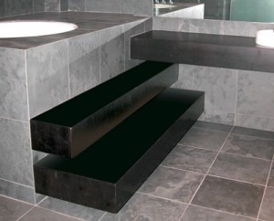 Floating steps & vanity with no visible means of support. Expensive but worth it! (Skyloft during construction)